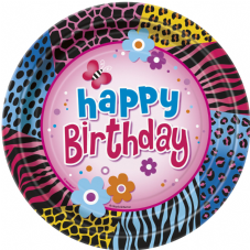 8 Wild Birthday Theme Paper Party Plates
